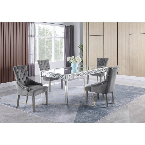 Best Master Furniture 5 Pieces Silver Mirrored Dining Set. Opens flyout.