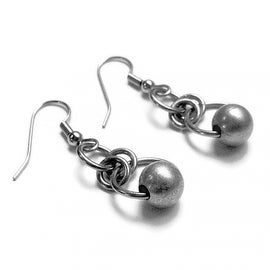 Loralyn Designs Silver Circle Bead Dangle Earrings Stainless Steel