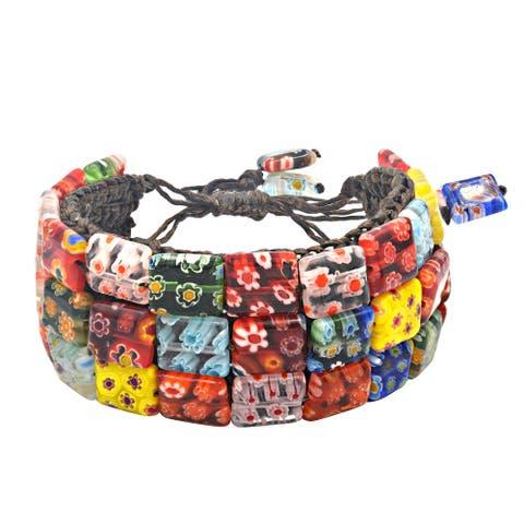 Handmade Cotton Modern Mosaic Pearl Pull Bracelet (Thailand)