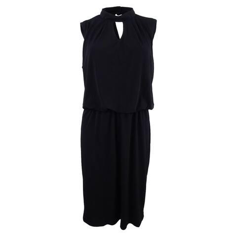 Nine West Women's Mock-Neck Blouson Dress - Black