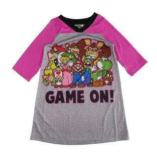 Super Mario Girls Grey Fuchsia Game On Long Sleeve Nightgown