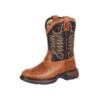 Durango Western Boots Boys Big Kid Stitch Round Toe Brown DBT0164