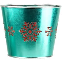 """8.5"""" Large Green with Red Snowflakes Christmas Potted Plant Cover"""