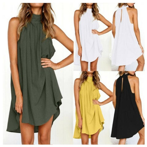 Summer Racerback Loose And Casual Swing Dress - S - 2X
