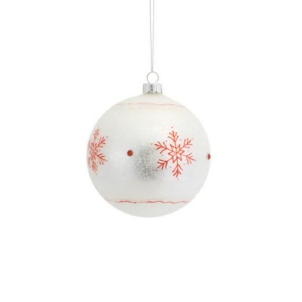 """3.5"""" Stylish Ivory Glitter Snowflake Glass Ball Christmas Ornament"""