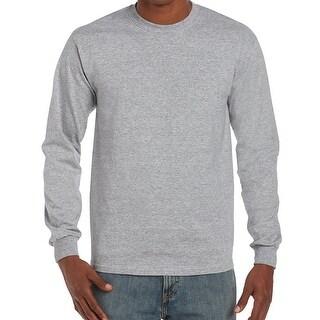 Gildan Gray Men's Size 5XL Crewneck Solid Long-Sleeve Tee T-Shirt 722