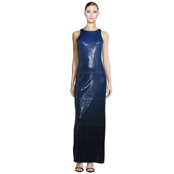 0c9e9e2a662c8c Halston Heritage Sleeveless Sequined Ombre Formal Long Column Evening Gown  Dress Indigo/Black/Ombre