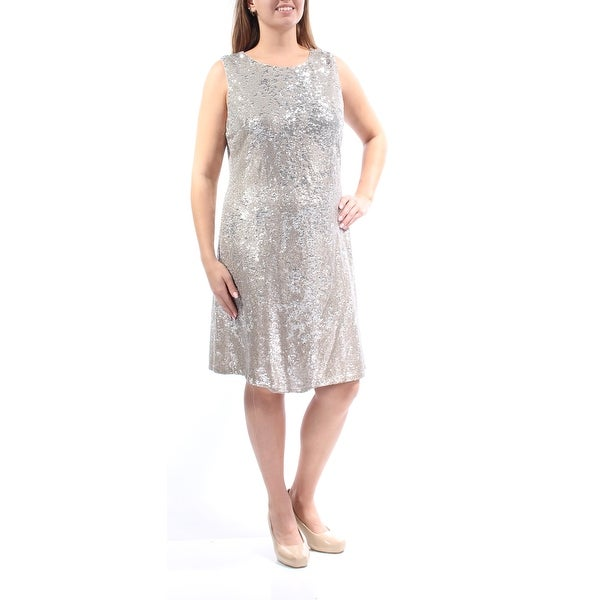 b44c62d49218d TOMMY HILFIGER Womens Gold Sequined Sleeveless Jewel Neck Above The Knee  Shift Cocktail Dress Size