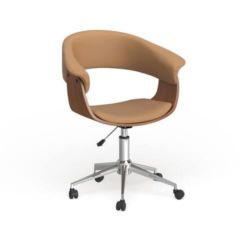Carson Carrington Heby White/ Wood Adjustable Office Chair