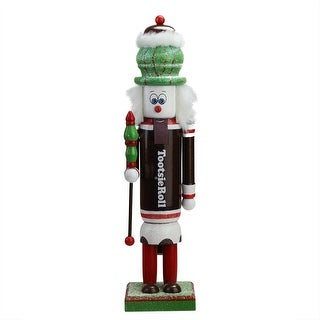 "14"" Decorative Brown  Red and White TootsieRoll Wooden Christmas Nutcracker Figure"
