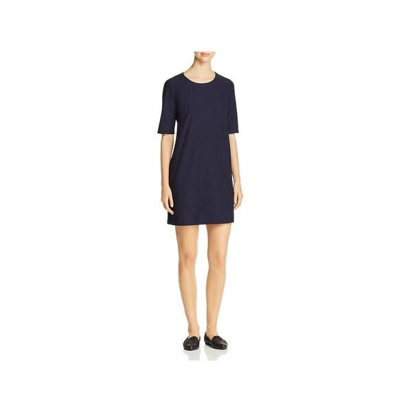 d1a5fbb0e72 Shop Eileen Fisher Womens Mini Dress Round Neck Textured - Free ...