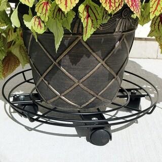 Sunnydaze Deluxe Modern Metal Indoor Outdoor Planter Caddy - 15-Inch Diameter