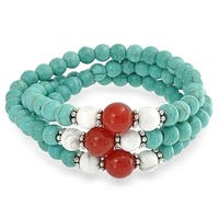 Bling Jewelry Reconstituted Turquoise Howlite Bracelet Silver Plated