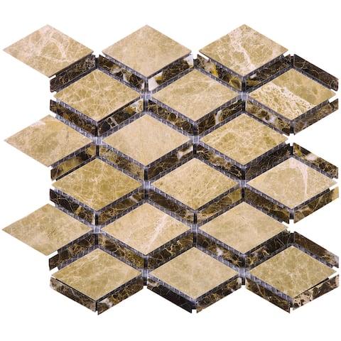 TileGen. Cedar Dynasty Big Diamond Marble Tile in Brown/Beige Floor and Wall Tile (10 sheets/7.3sqft.)