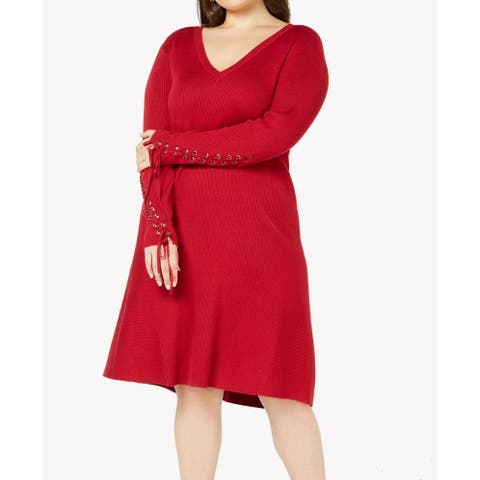 Love Scarlett Women's Sweater Dress Red Size 2X Plus Lace Up Ribed