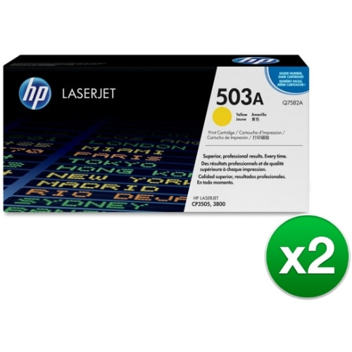 HP 503A Yellow Contract LaserJet Toner Cartridge (Q7582A)(2-Pack)