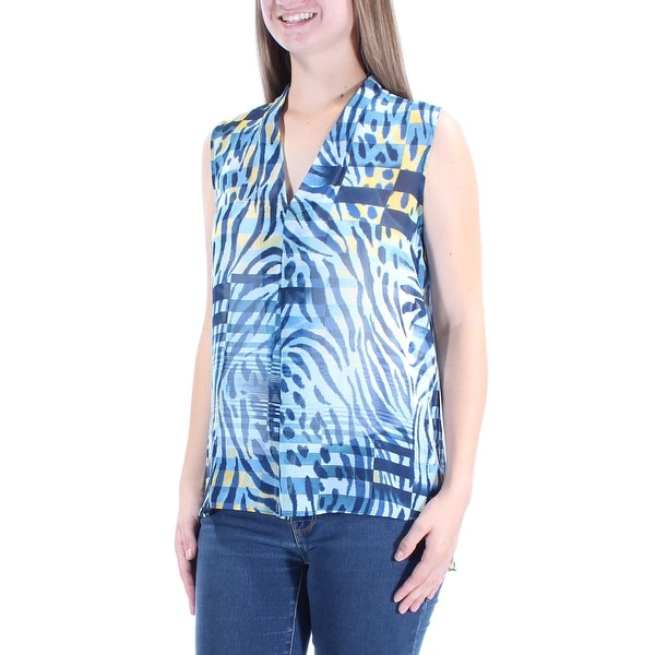 6bec4226b710b Shop ANNE KLEIN  69 Womens New 1315 Blue Yellow Animal Print Hi-Lo Top 8  B+B - Free Shipping On Orders Over  45 - Overstock - 21312905