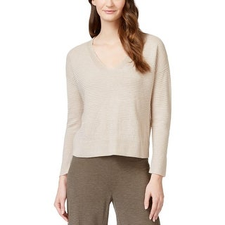 Eileen Fisher Womens V-Neck Sweater Ribbed V-neck - l