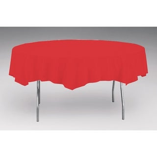 Touch Of Color Octy-Round Round Plastic Table Cover Classic Red