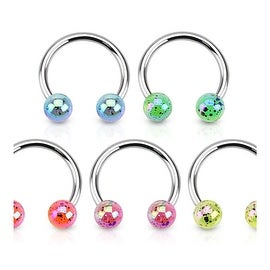 Aurora Borealis Coating Over Splash Acrylic Balls 316L Surgical Steel Horseshoe (Sold Ind.)