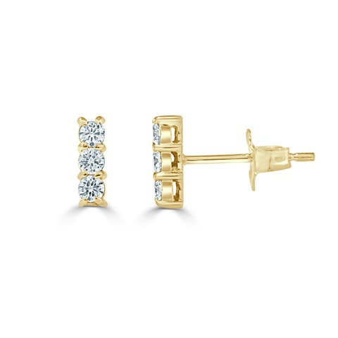Three Stone Diamond Bar Earrings 1/4 CT TDW 14K Gold Stud by Joelle Collection