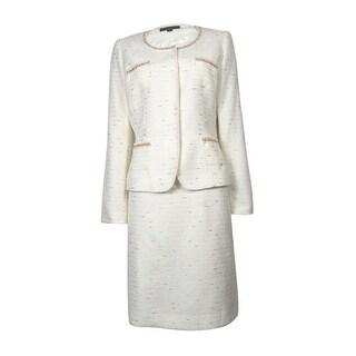 Tahari by ASL Women's Newport Nautical Skirt Suit - White/Gold - 6