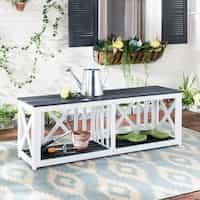 Safavieh Branco Dark Slate Grey/ White Acacia Bench