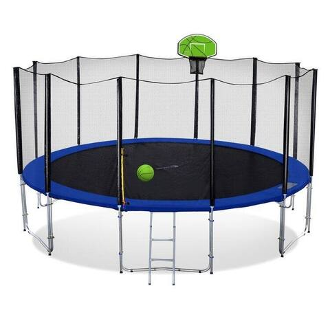 ExacMe Trampoline with Enclosure Net and Green Basketball Hoop, T8-T16&BH04GR