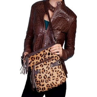 Scully Western Handbag Womens Leather Side Straps Zipper Cheetah B87 - One size