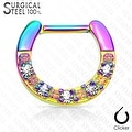 Five CZs Paved Single Line 316L Surgical Steel Septum Clicker (Sold Ind.) - Thumbnail 3