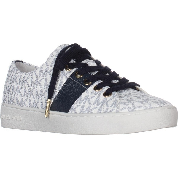 0b7fefcf36b MICHAEL Michael Kors Keaton Lace Up Signature Fashion Sneakers, White/Navy  Logo