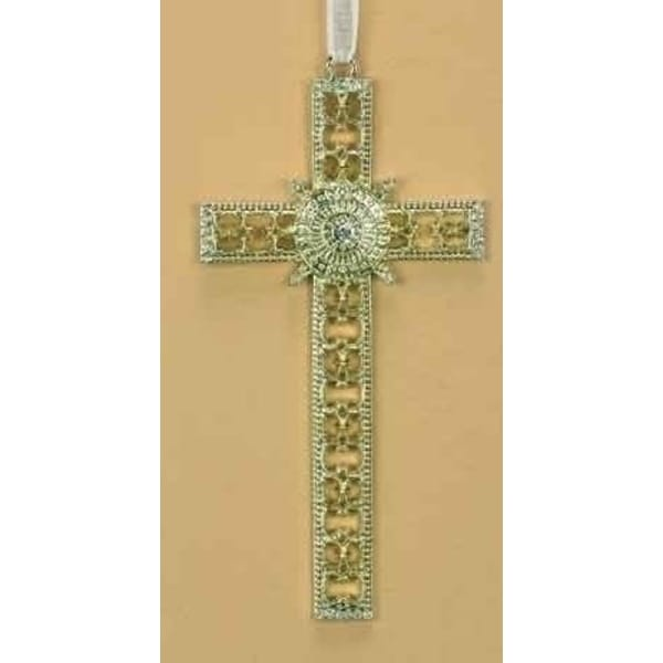 "5.25"" Christmas Joy Crystal Decorative Cross Ornament - GOLD"