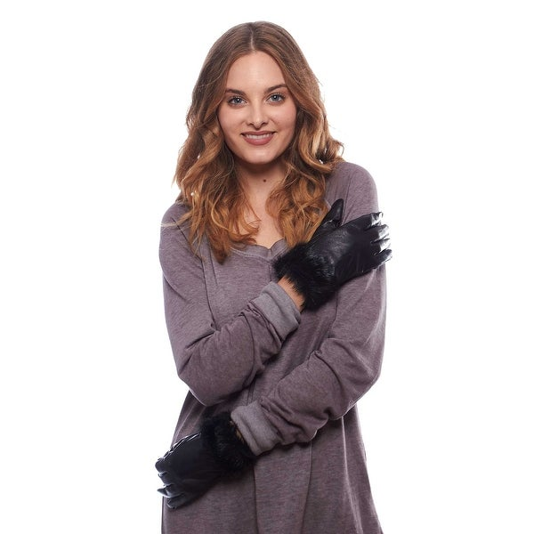 Perfect Pelt Touch Screen Leather Gloves with Faux Fur Cuff