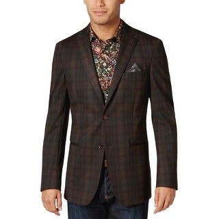 Tallia Orange Slim Fit Rust Brown and Black Plaid Two Button Sportcoat Blazer