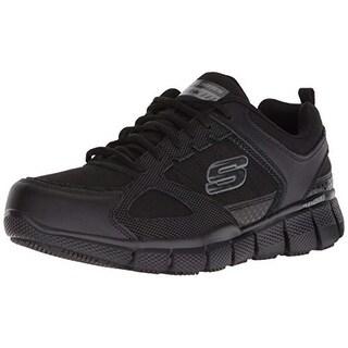 Skechers Work Men's Telfin-Sanphet Industrial Shoe, Black Leather Courdura, 9 M Us