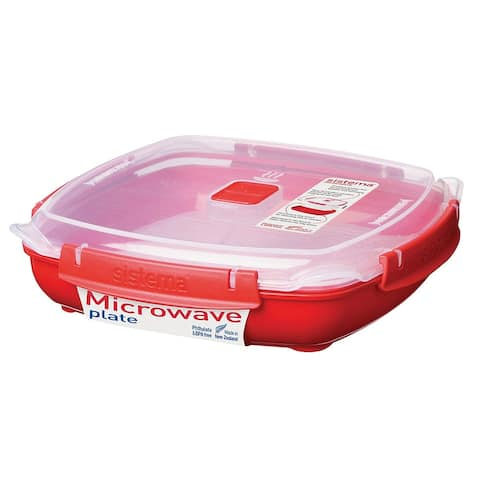 Sistema Microwave Plate with Removable Steaming Rack, Large, 1.3 Liters, Red - 1.3 Liters