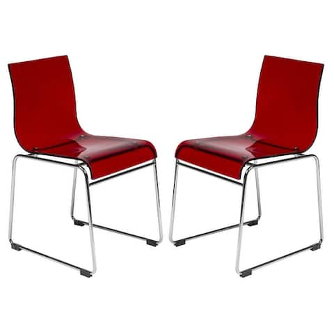 LeisureMod Moreno Acrylic Dining Side Chair with Chrome Base Set of 2
