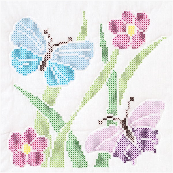 "Stamped White Quilt Blocks 18""X18"" 6/Pkg-XX Butterflies"