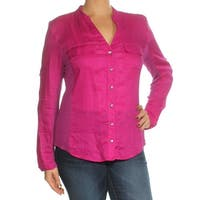INC Womens Purple Long Sleeve V Neck Wear To Work Top  Size: L