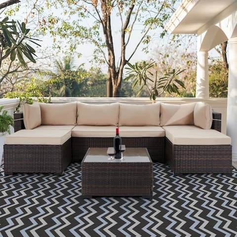 6-Person Outdoor Section Group Patio Wicker Conversation Set