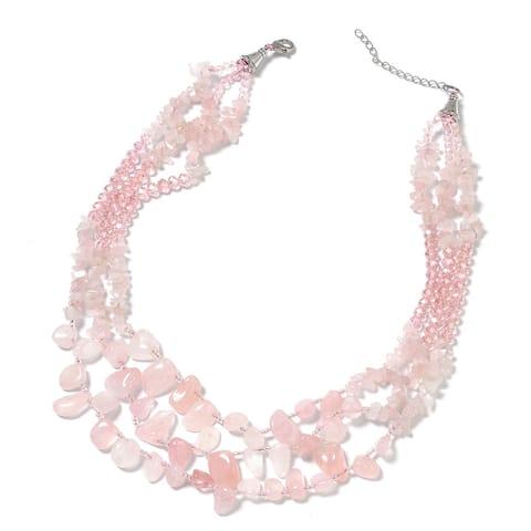 "Multilayered Rose Quartz Pink Drape Chain Necklace Platinum Plated 18"" - Size 18''"