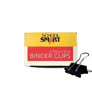 School Smart Binder Clip Set, 3/4 in W, Small, 3/8 in Capacity, Tempered Steel/Nickel Wire, Set of 12