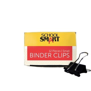 School Smart Binder Clip Set, 3/4 in W, Small, 3/8 in Capacity, Tempered Steel/Nickel Wire, Set of 12