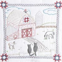 "Barn - Stamped White Wall Or Lap Quilt 36""X36"""