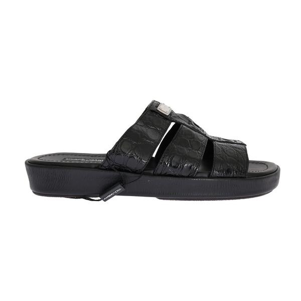 c09f342f3 Dolce & Gabbana Dolce & Gabbana Black Pattern Leather Slides Sandals  ...
