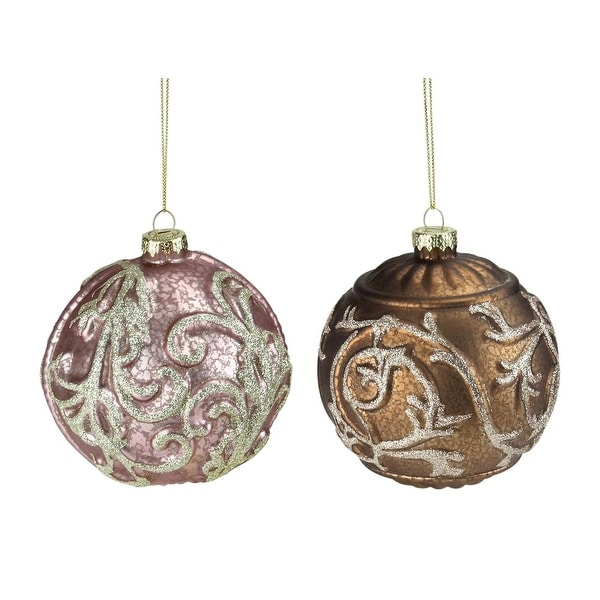 Set of 2 Pink and Brown Glitter Swirl Mercury Glass Ball Christmas Ornaments 4""