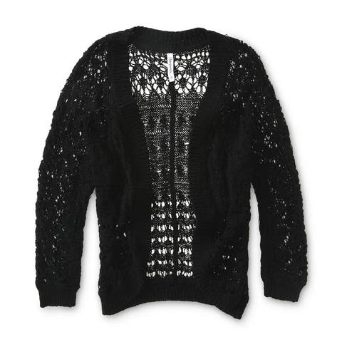 Aeropostale Womens Crochet Cropped Shrug Sweater, black, Medium