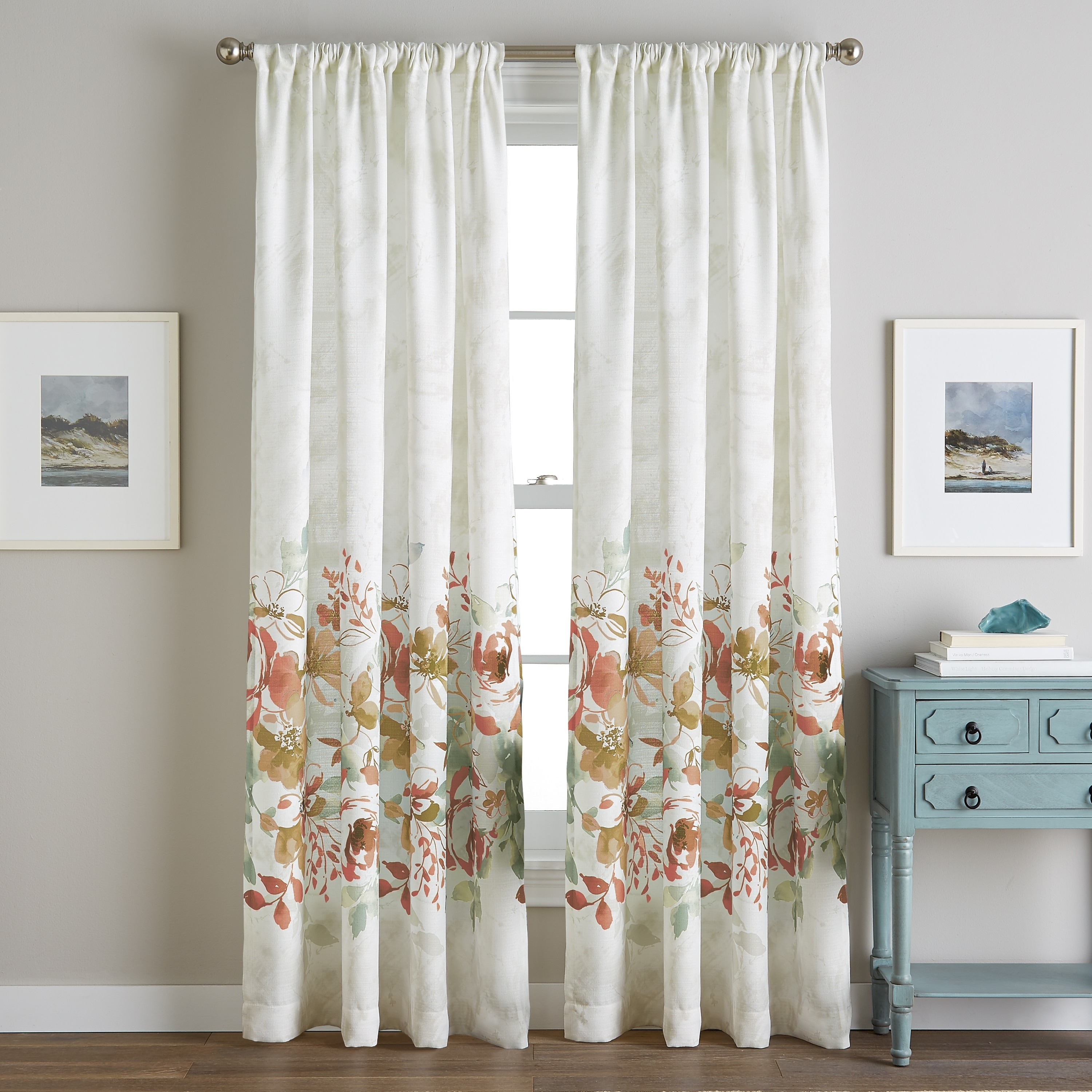 Watercolor Floral Poletop Single Curtain Panel Overstock 23540992