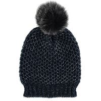 Alexa Rose Women's Metallic Lurex Beanie Hat with Pom