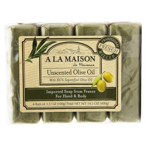 A La Maison Soap Bar Hand Body Unscented Olive Oil 4 x1, 14.1oz / 400g - 14.1 oz